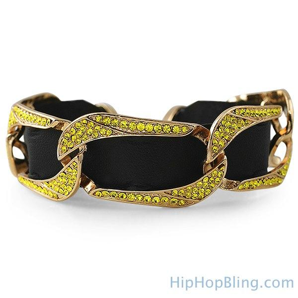 Gold Lemonade Bling Bling Cuban Bracelet Black Leather