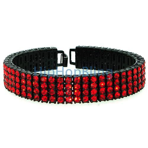 Red on Black 4 Row Bling Bling Bracelet