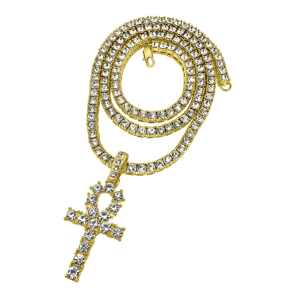 Blingblowout bling sale hip hop jewelry gold ankh bling bling cross tennis chain set special mozeypictures Images