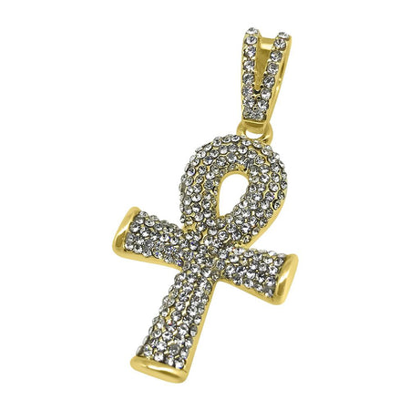 Rhodium Ankh Bling Bling Cross Tennis Chain Set Special