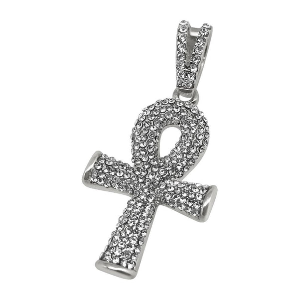 Rhodium Bling Bling Rounded Ankh Cross Special