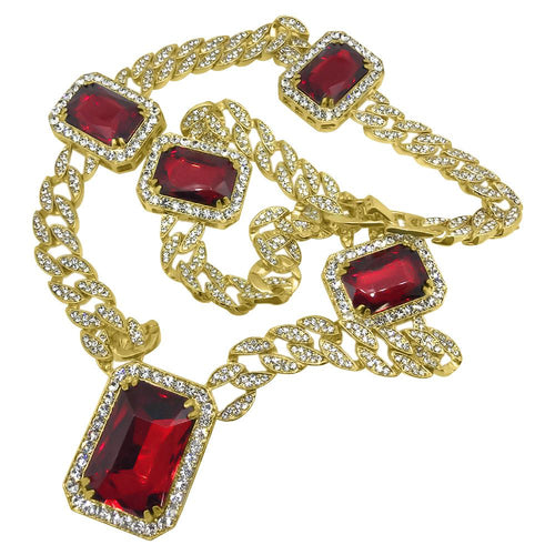 Gold Full Bling Bling Cuban Gem Chain Special