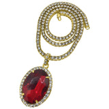 Oval Red Gem Pendant Tennis Chain Set Special