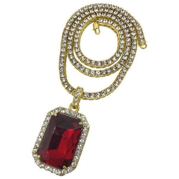 Rectangle Red Gem Pendant Tennis Chain Set Special