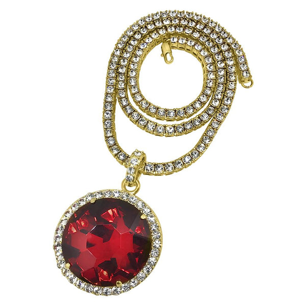 Circle Red Gem Pendant Tennis Chain Set Special
