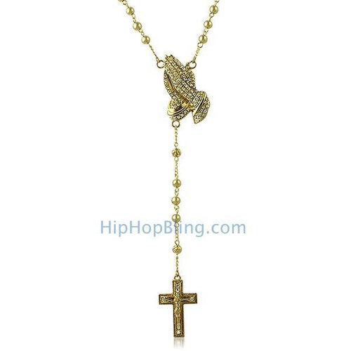 Gold Rosary Necklace Bling Bling Praying Hands & Cross