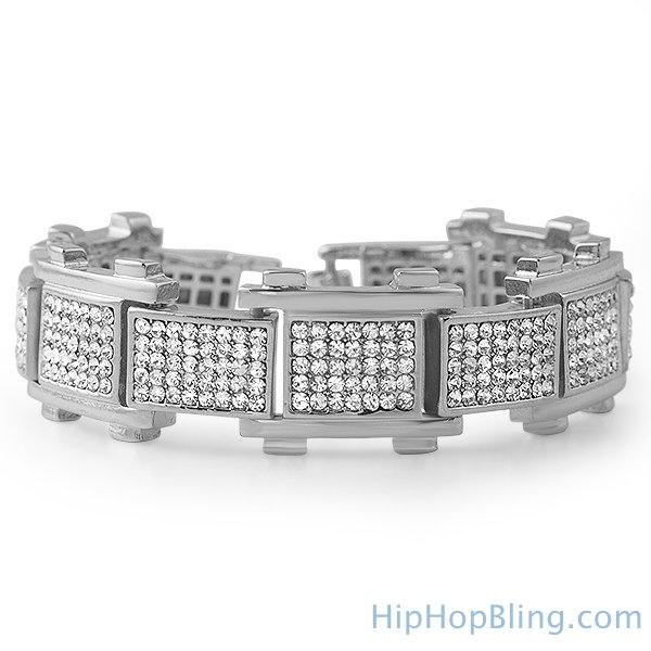 Bike Link Rhodium Iced Out Bracelet