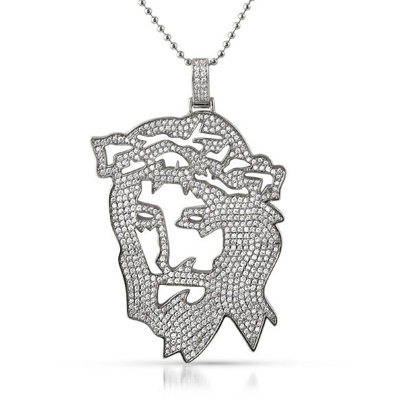 Jesus Cut Out Designer Rhodium CZ Pendant