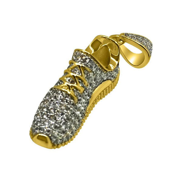Mini 3D Shoe CZ Gold Bling Bling Pendant