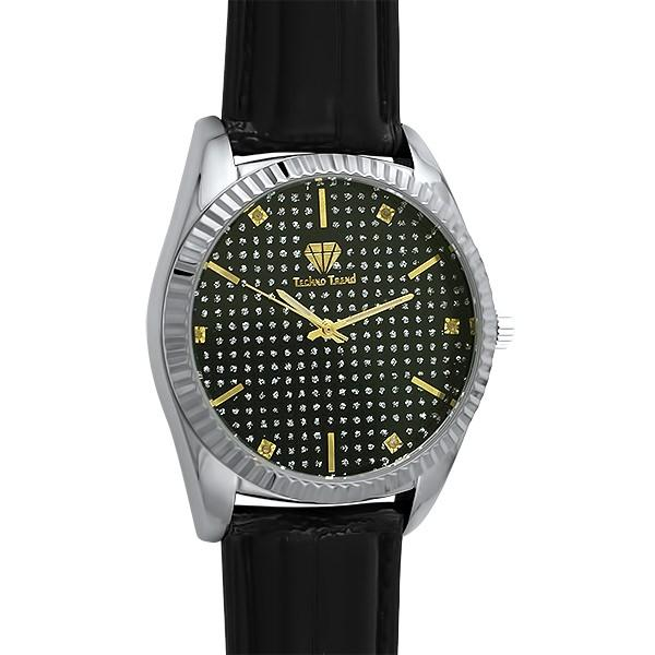 Diamond Dress Watch Silver Case Black Dial & Leather