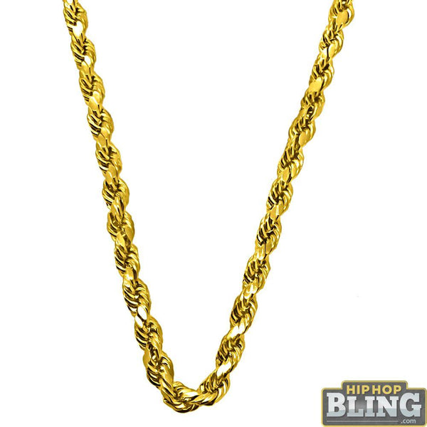 10K Yellow Gold Diamond Cut 4.5MM French Rope Chain