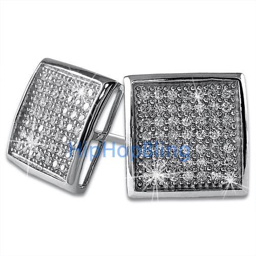 XL Deep Dish Box CZ Iced Out Micro Pave Earrings .925 Silver