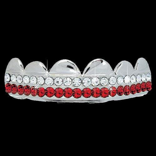 RED / CLEAR Double Bar SILVER Iced Out Grillz Hip Hop Bling Grills TOP