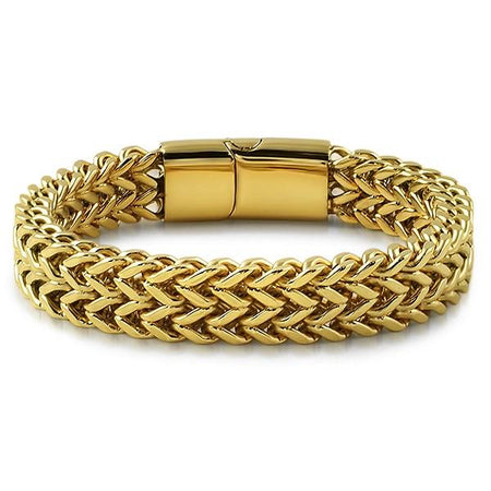 CZ Diamond Lock Gold Steel Cuban Bracelet 10MM