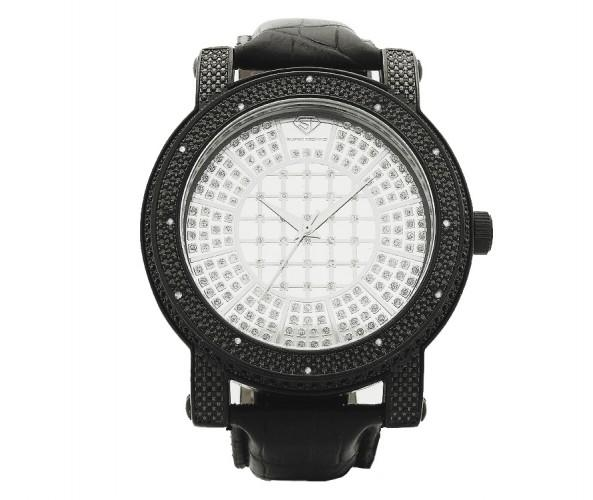 Black Super Techno Watch 10ct Real Diamonds