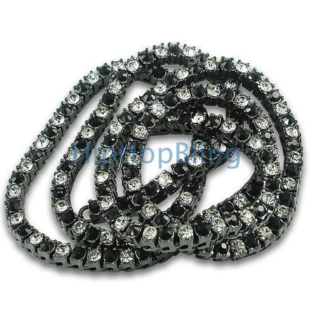 4 Row Black on Black Chain Bling Bling