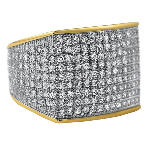 Thick Block Gold CZ Bling Bling Ring