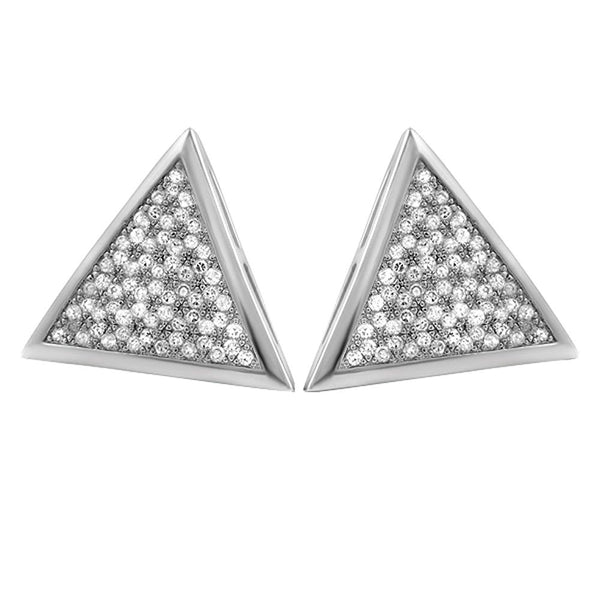 XL Triangle CZ Micro Pave Iced Out Earrings