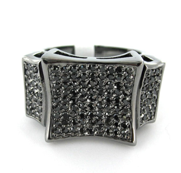 Kite CZ Black on Black Mens Ring