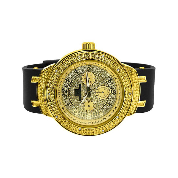 Gold Black Trim Chrono Rubber Watch .10ct Diamond
