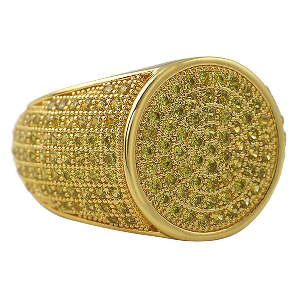 Round Lemonade CZ Micro Pave Bling Ring