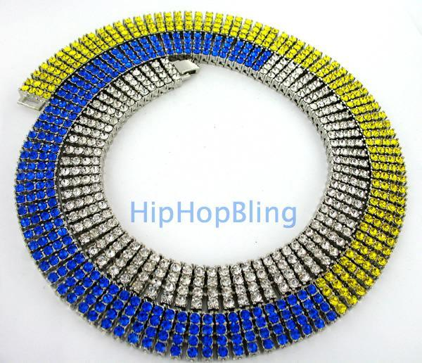 Tri Color Canary Blue & White Ice Bling Bling 4 Row Chain