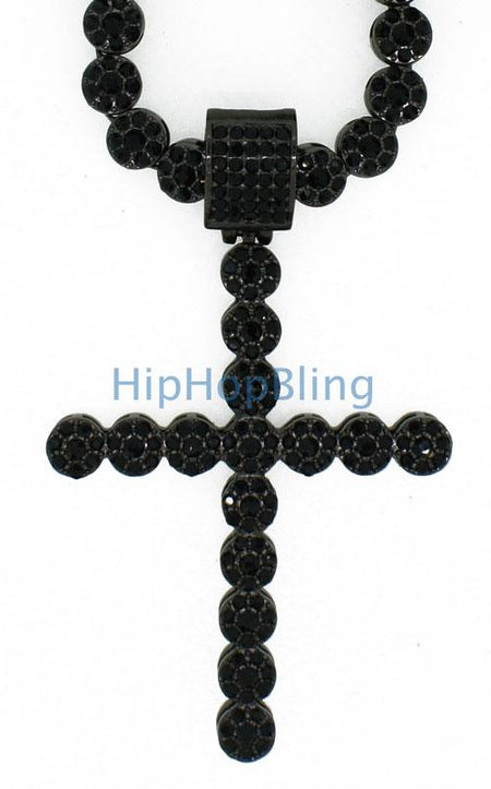 Rhodium Concave Bling Bling Cross & Chain Small