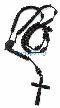All Black Raw Diamond Bling Bling Rosary Necklace