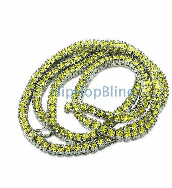 All Canary Rhodium 1 Row Bling Bling Chain