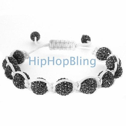 All Grey Bling Bling Disco Ball Bracelet White Rope