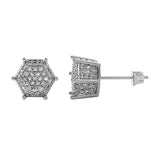 3D Pentagon Rhodium Bling CZ Earrings