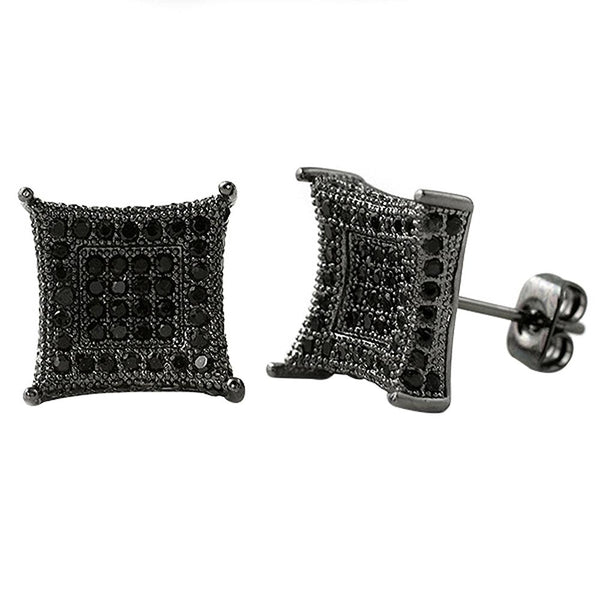 XL 3D Box Kite Black CZ Bling Bling Earrings