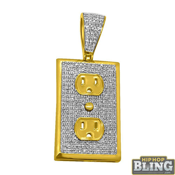 Electrical Socket Mini 10K Yellow Gold Pendant .59cttw