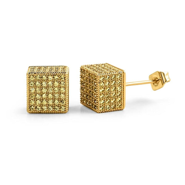 Cube Lemonade CZ Hip Hop Bling Bling Earrings