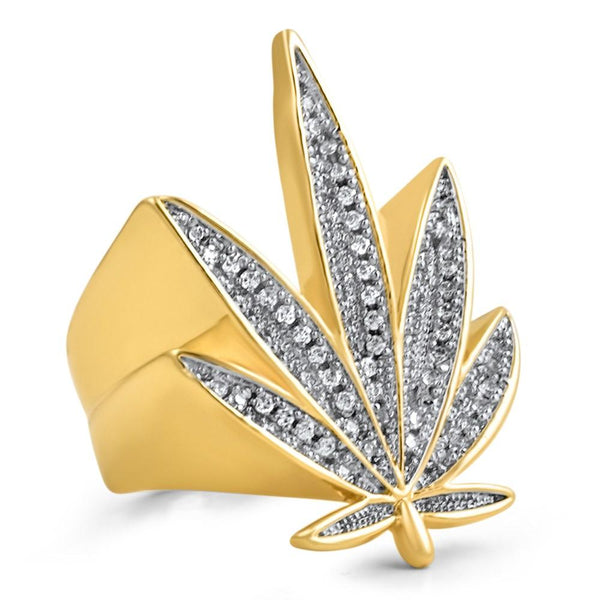Marijuana Leaf 420 CZ Bling Bling Gold Ring