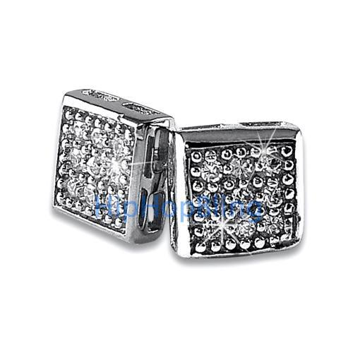 Small Box CZ Micro Pave Bling Bling Earrings .925 Silver