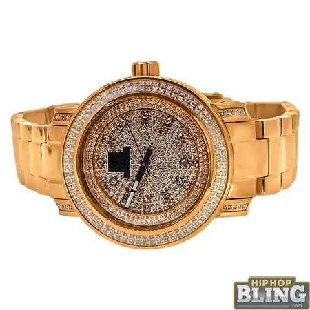 Fashion Black Dial Gold Hip Hop Watch