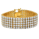 5 Row Bling Bling Bracelet Gold Stainless Steel