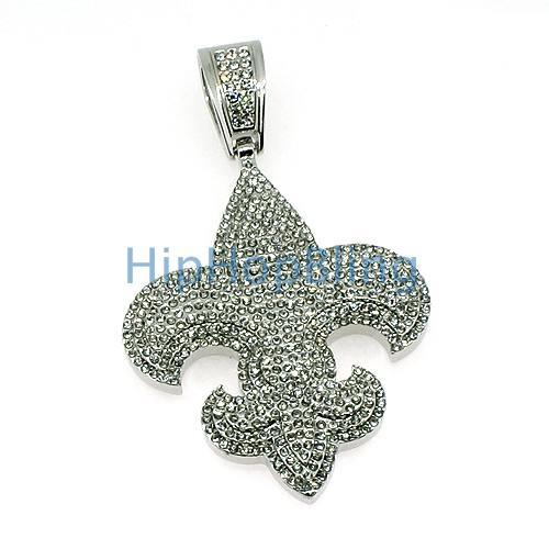Fleur De Lis Totally Iced Out Pendant