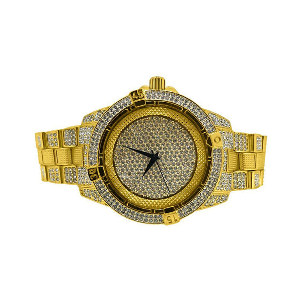 Bling Bling Watch Gold Pilot Style Bracelet Set