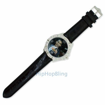 Barack Obama Hope Black Leather Bling Watch