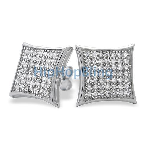 XL Puffed Kite CZ Micro Pave Bling Earrings .925 Silver