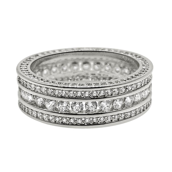 .925 Silver Channel Set 360 Eternity Band Rhodium CZ Bling Ring