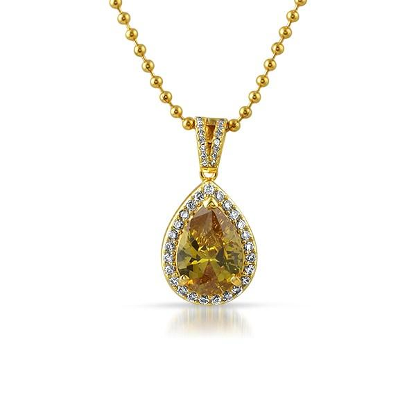Yellow Pear Gem Gold .925 Silver Bling Pendant