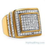 Step Up Gold CZ Iced Out Ring