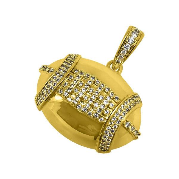 Football Sports CZ Gold Bling Bling Pendant