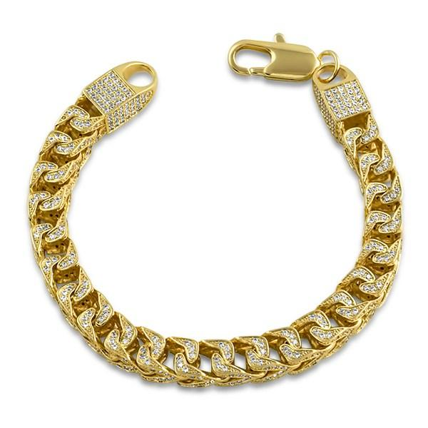.925 Silver CZ Franco 8MM Bling Bling Bracelet Gold