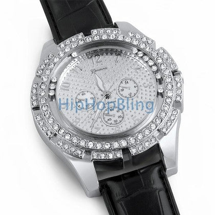 Big Blocky Floating Bling Bling Leather Watch