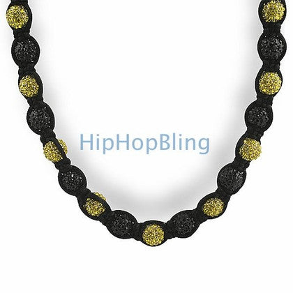 Black and Yellow 50 Disco Ball Hip Hop Chain