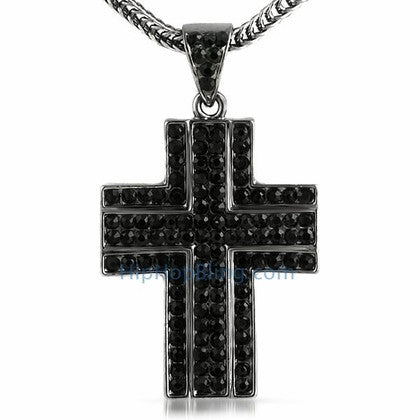 Black Ballers Bling Bling Cross & Chain Small